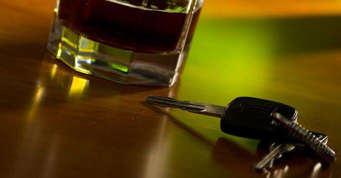 mixed drink and car keys
